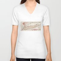geology V-neck T-shirts featuring 1842 Mather Map of Long Island, New York by Retro Designs
