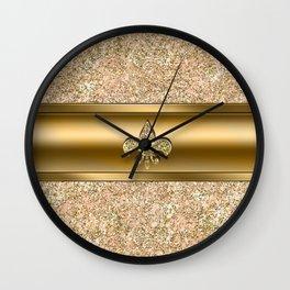 Pink & Gold Glitter Fleur De Lis Wall Clock