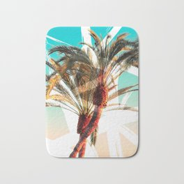 Modern summer tropical palm trees seascape photography white abstract geometric brushstrokes paint Bath Mat