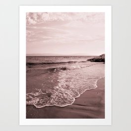 Beach days monochrome Seafoam Art Print