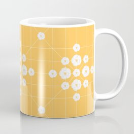 White flowers symmetrically yellow background Coffee Mug