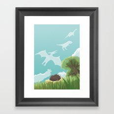 Dinosaur Clouds Framed Art Print