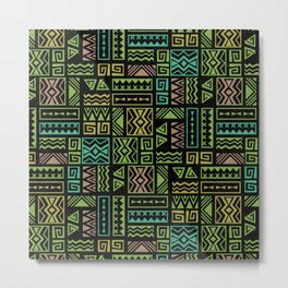 Polynesian Geometric Tapa Cloth - Black Metal Print