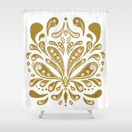Cottage Core Folky Flower in Mustard. Shower Curtain