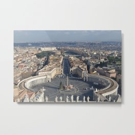 Piazza san pietro with its surroundings and whole rome city view in a sunny day from up Metal Print
