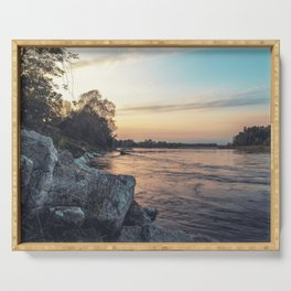 Sunset on the banks of the Ticino river Serving Tray
