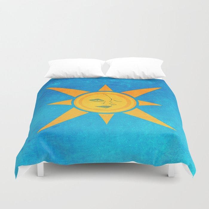 Sun Shining and Moon Sleeping Duvet Cover
