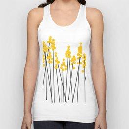 Hello Spring! Yellow/Black Retro Plants on White #decor #society6 #buyart Unisex Tank Top