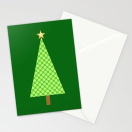 Lime Green Polka Dot Modern Christmas Tree Stationery Cards