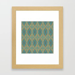 Teal Turquoise Caramel Coffee Brown Rustic Native American Indian Cabin Mosaic Pattern Framed Art Print