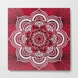 Mandala Red Colorburst Metal Print