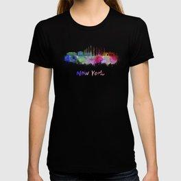 New York V3 skyline in watercolor T-shirt
