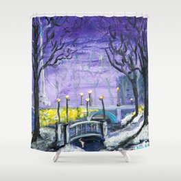 Night Freedom, Riga, Latvia Shower Curtain