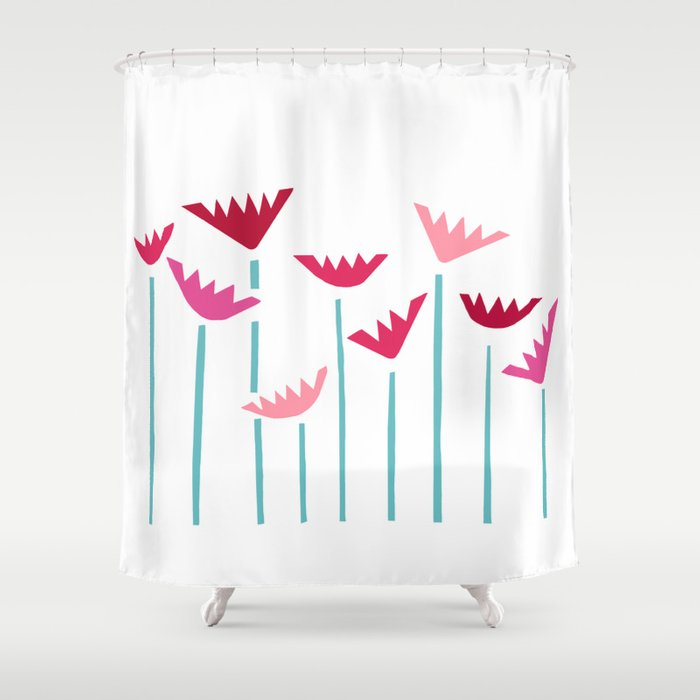 Teal and Pink Tropical Plants Collage Shower Curtain