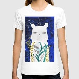 polar bear with botanical illustration in blue T-shirt