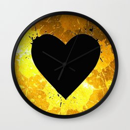 Yellow Watercolor splashed heart texture Wall Clock