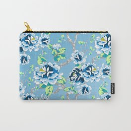 Chinoiserie Ming style Blue Floral Pattern Carry-All Pouch