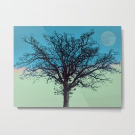 Teal and Aqua Abstract Moonlit Sky Tree Landscape A325 Metal Print