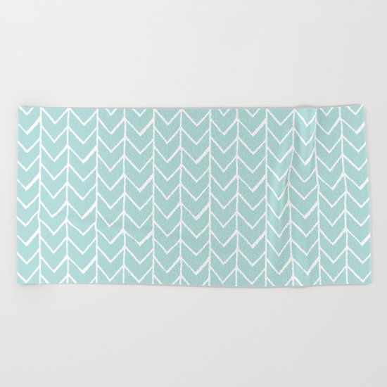 Herringbone Mint Beach Towel