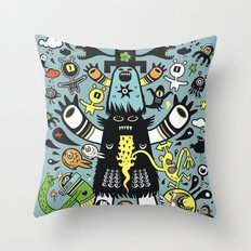 Guru Cat (blue time) Throw Pillow