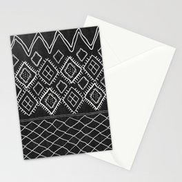Beni Moroccan Print in Black and White Stationery Cards