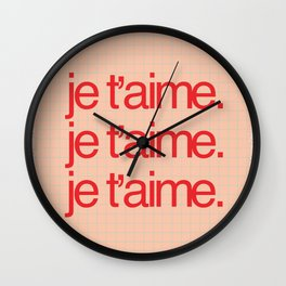 je t'aime Poster Art Wall Clock