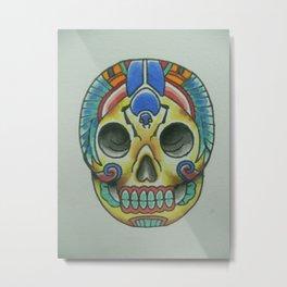 Egyptian Scarab Sugar Skull Metal Print