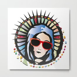 Holy Mary portrait graffiti with sunglasses Metal Print