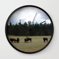 buffalo Wall Clocks featuring Buffalo  by Taylor Palmer