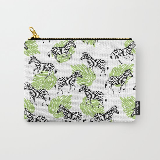 Zebras green pattern Carry-All Pouch