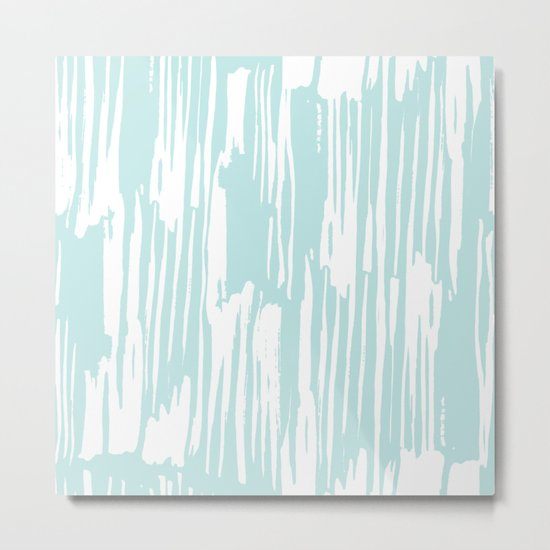 Bamboo Stripe Succulent Blue and White Metal Print
