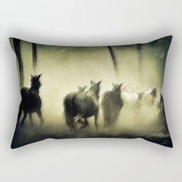 Wild Horses Night Ride Through New England Wilderness Landscape by Jeanpaul Ferro Rectangular Pillow
