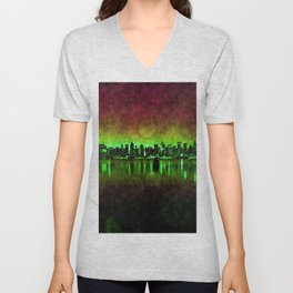 NYC Surreal Green Unisex V-Neck