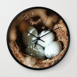 Bird Eggs Nest Wall Clock