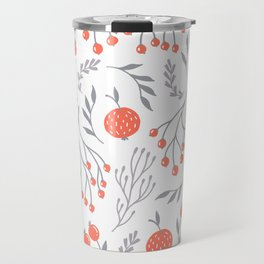 Red Berry Floral Travel Mug
