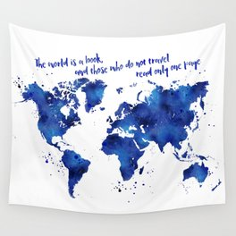 The world is a book, world map in shades of blue watercolor Wall Tapestry