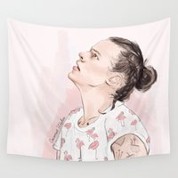 coconutwishes Wall Tapestries featuring Harry Flamingo by Coconut Wishes