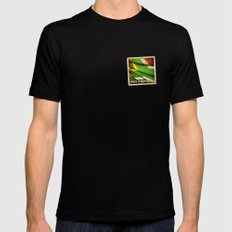South Africa grunge sticker flag MEDIUM Black Mens Fitted Tee