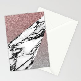 Silver Rose Gold Glitter and Marble Geometric Pattern Stationery Cards