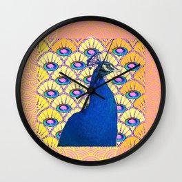 CONTEMPORARY BLUE ART DECO PEACOCK PINK-YELLOW ART Wall Clock
