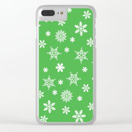 Snow Flurries-Christmassy Green Clear iPhone Case