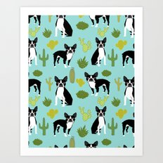Boston Terrier cactus desert southwest baby mint dog art boston terrier owners pet portraits furbey  Art Print