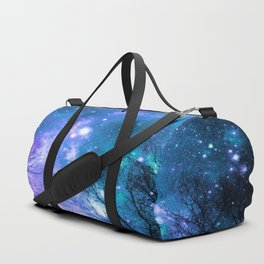 Black Trees Violet Teal Space Duffle Bag