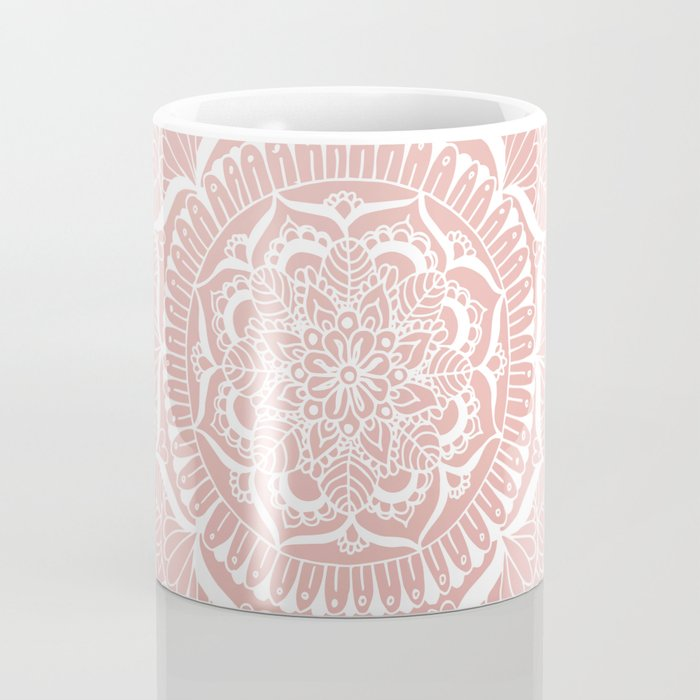 White Flower Mandala on Rose Gold Coffee Mug
