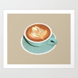 Coffee with Latte Art Polygon Art Art Print