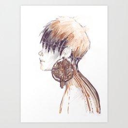 Fashion illustration profile portrait gold black white markers and watercolors Art Print