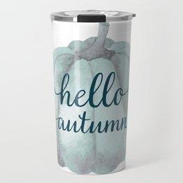 Hello autumn- blue pumpkin white background Travel Mug