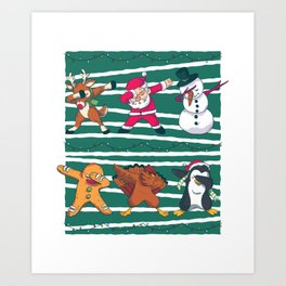 Dabbing Celebration Christmas Santa Teem Art Print
