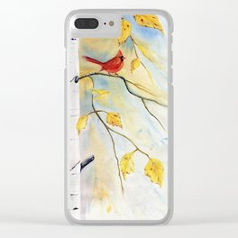 Cardinal on birch Tree Clear iPhone Case