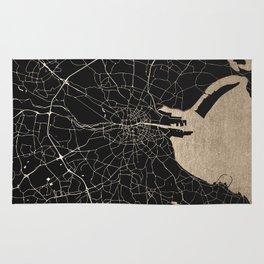Black on Gold Dublin Street Map Rug